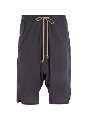 Dropped-crotch shell shorts