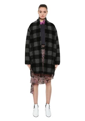 CHECKED WOOL BLEND COAT