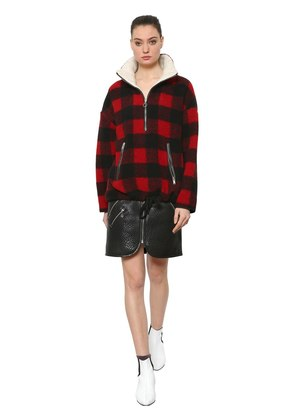 CHECKED WOOL BLEND PULL-ON JACKET