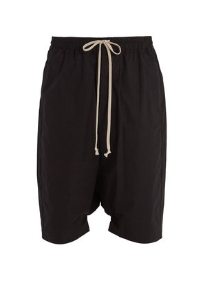 Dropped-crotch cotton shorts