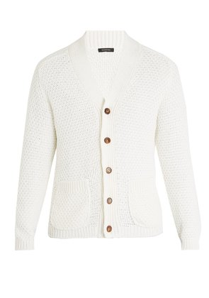 Cotton and silk-blend knitted cardigan