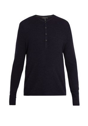 Giles ribbed-knit wool henley top