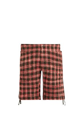 Checked-knitted cotton-blend cargo shorts