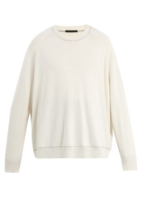 Contrast-stitch oversized wool-blend sweater