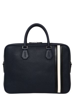 PEBBLED LEATHER BRIEFCASE W/ STRIPES