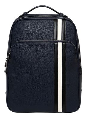 PEBBLED LEATHER BACKPACK W/ STRIPES