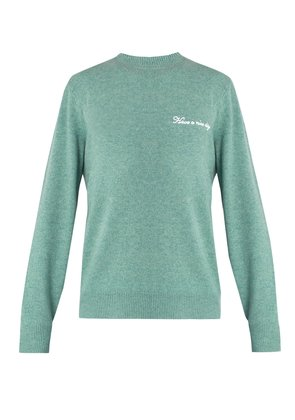 Victor logo-embroidered wool-blend sweater