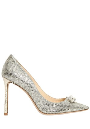 100MM ALEXA JEWELED GLITTER & LACE PUMPS