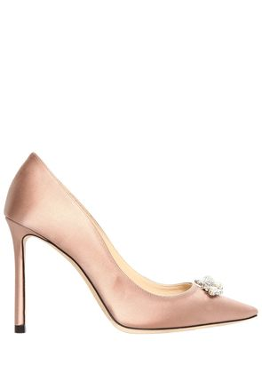 100MM ALEXA JEWELED SILK SATIN PUMPS