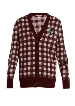 Gingham wool and cashmere-blend cardigan