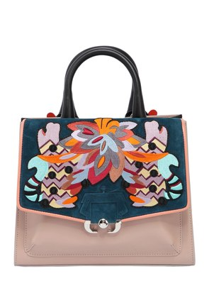 ALEX EMBROIDERED LEATHER TOP HANDLE BAG