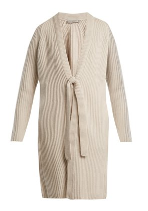 Ribbed-knit wool and cashmere-blend cardigan