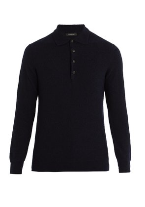Cashmere and silk-blend polo sweater