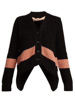 Stripe-detail V-neck ribbed-knit cardigan