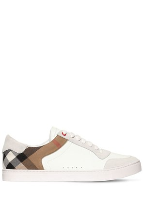 CHECK, SUEDE & LEATHER SNEAKERS