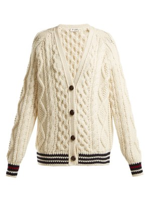 V-neck aran-knit wool cardigan