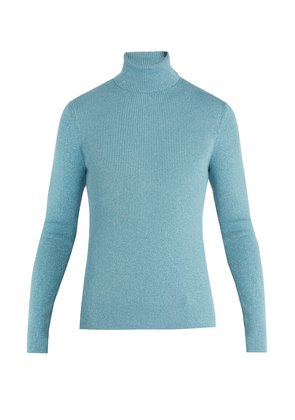 Roll-neck ribbed-knit wool-blend sweater