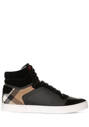CHECK, SUEDE & LEATHER HIGH TOP SNEAKERS