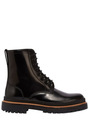POLISHED LEATHER LACE-UP BOOTS