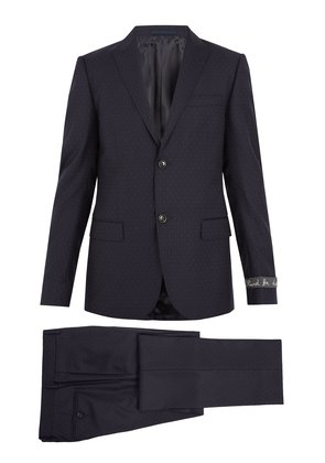 Pin dot-jacquard wool suit