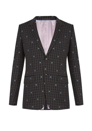 Bee-embroidered single-breasted wool suit