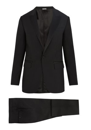 Attitude-fit single-breasted wool-blend suit