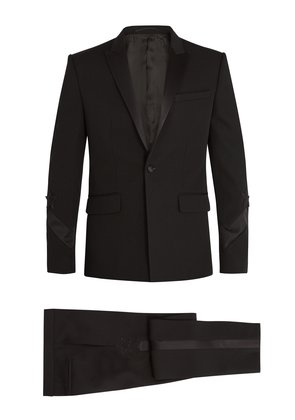 Single-breasted satin-trimmed wool tuxedo