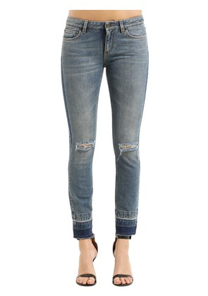 SKINNY DESTROYED COTTON DENIM JEANS