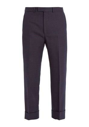 Polka-dot jacquard cotton-blend trousers