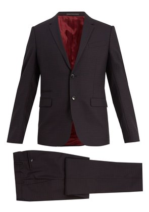 Notch-lapel checked wool suit