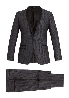 Two-piece jacquard silk-wool suit