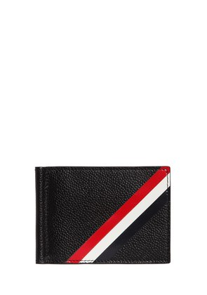 STRIPE PEBBLED LEATHER MONEY CLIP WALLET