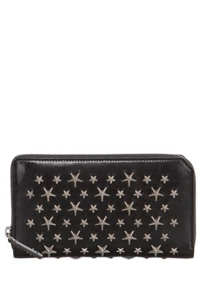 STARS STUDS LEATHER ZIP AROUND WALLET