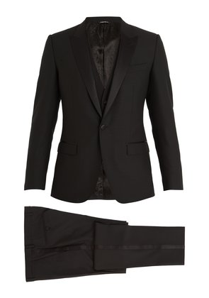 Single-breasted satin peak-lapel wool-blend tuxedo