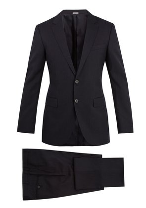 Attitude-fit single-breasted striped wool suit