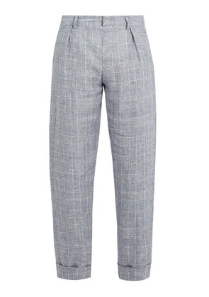Checked linen cropped trousers