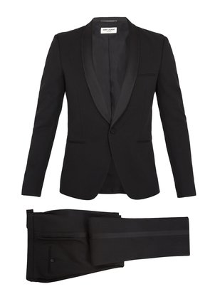 Shawl-collar satin-trimmed wool tuxedo