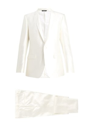 Single-breasted shantung-silk suit