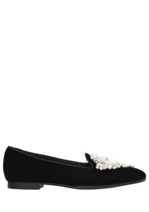 10MM PEARLS EMBELLISHED VELVET FLATS