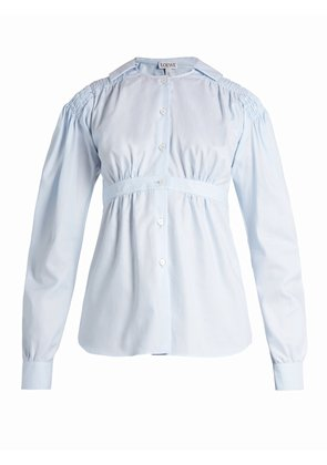 Sailor-collar smocked oxford-cotton blouse