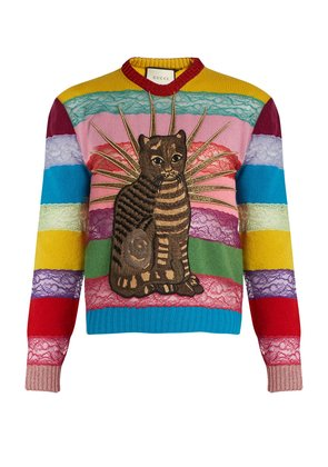 Cat-appliqué panelled lace and wool sweater