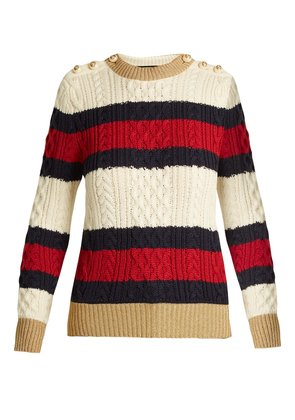 Striped cable-knit wool sweater