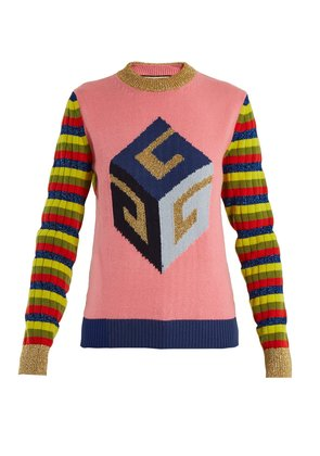 Cube-intarsia striped wool-blend knit sweater