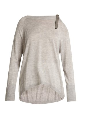 Cut-out shoulder cashmere-blend sweater