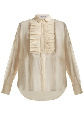Ruffled-bib semi-sheer cotton shirt
