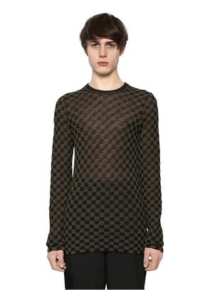WOOL CREPE SQUARE JACQUARD SWEATER