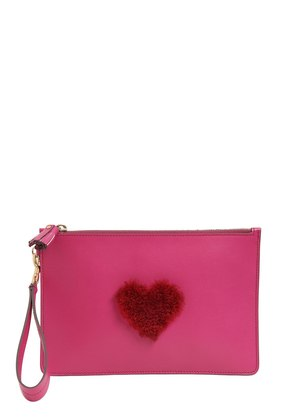 MINI SHEARLING HEART LEATHER POUCH