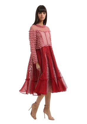 RUFFLED LACE & COTTON ORGANDY DRESS