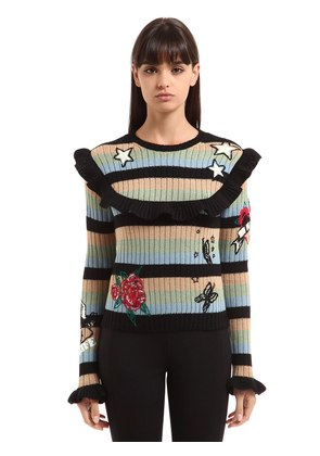 EMBROIDERED STRIPED WOOL KNIT SWEATER