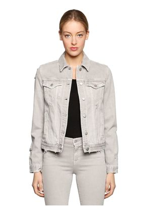 SLIM DESTROYED COTTON DENIM JACKET